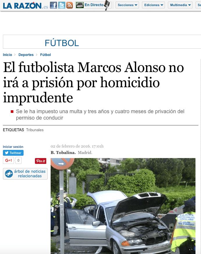 Accidente de tráfico de Marcos Alonso